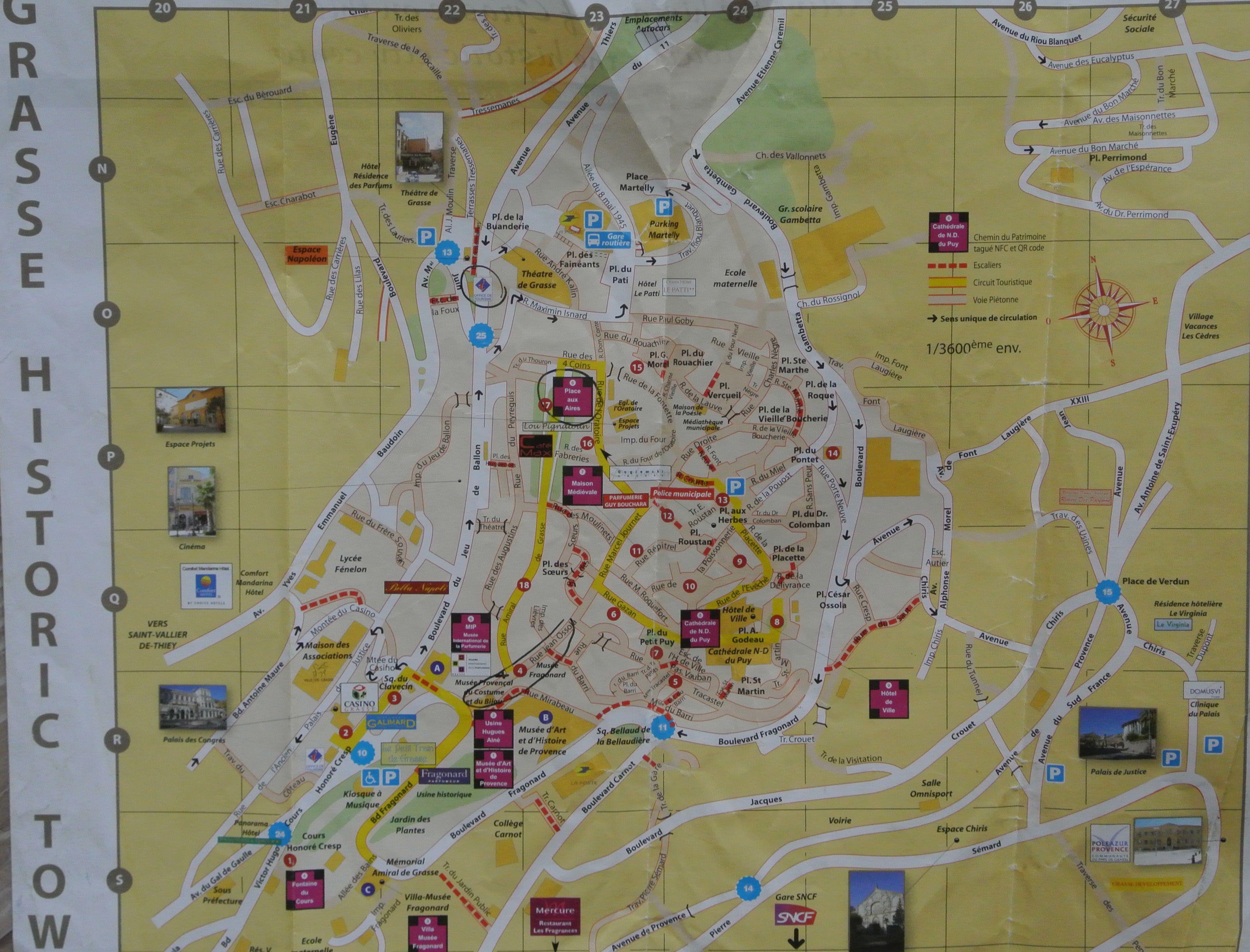 Harta centrului istoric Grasse