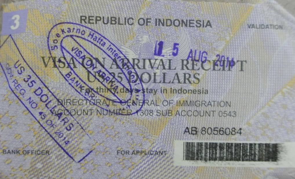 chitanta viza indonezia