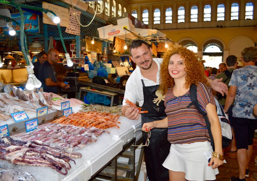 Varvakios Agora - piața centrală, turul culinar