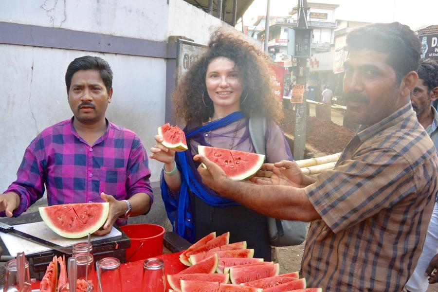Mâncarea din Kerala India pepene proaspat