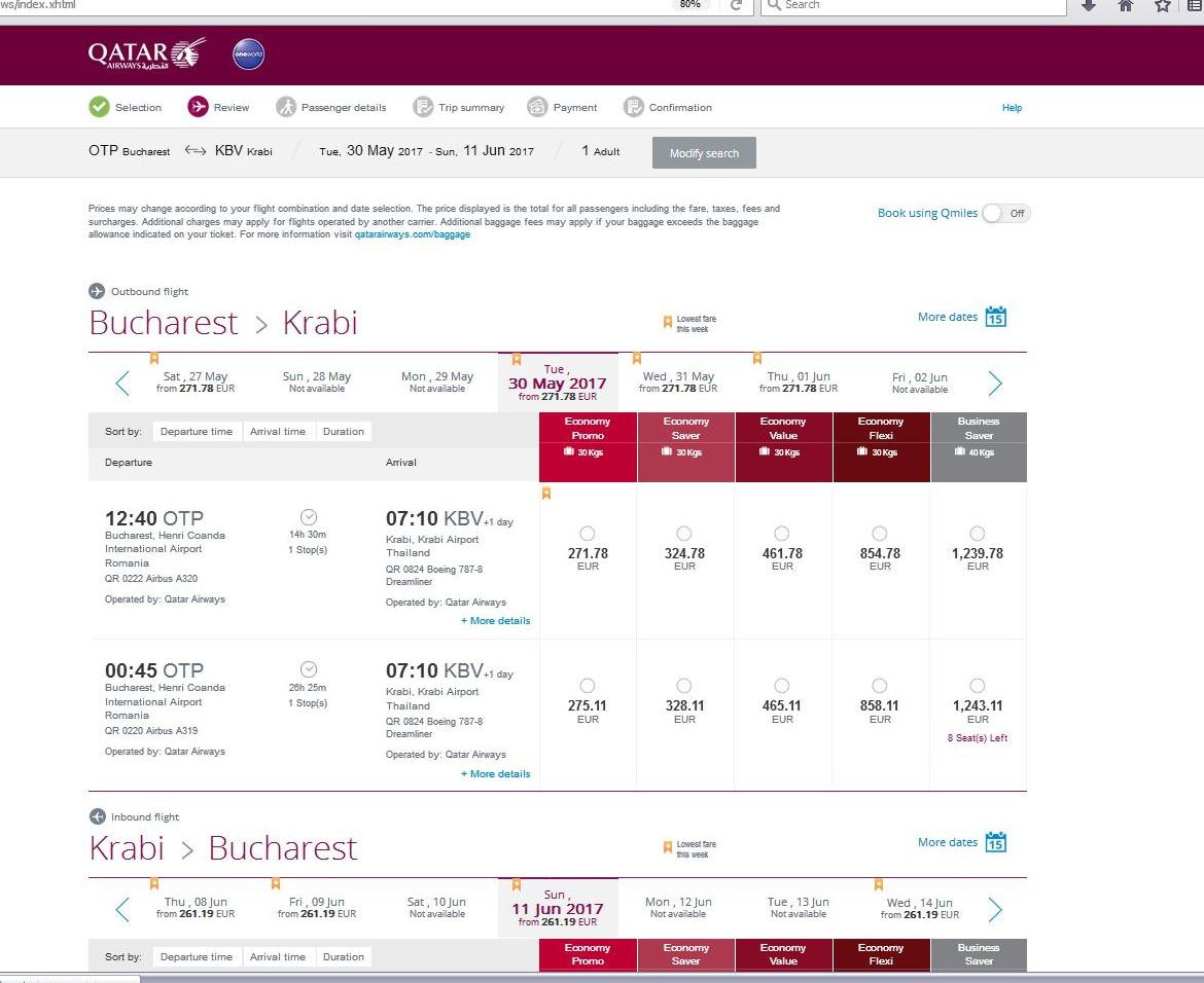 Zbor QATAR Airways Bucuresti - Doha - Krabi Thailanda 39