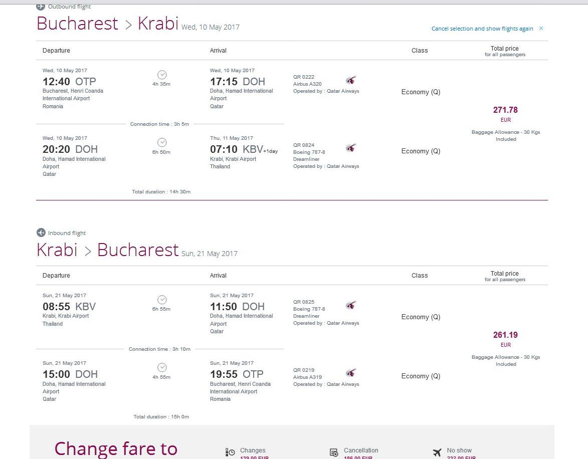 Zbor QATAR Airways Bucuresti - Doha - Krabi Thailanda 38