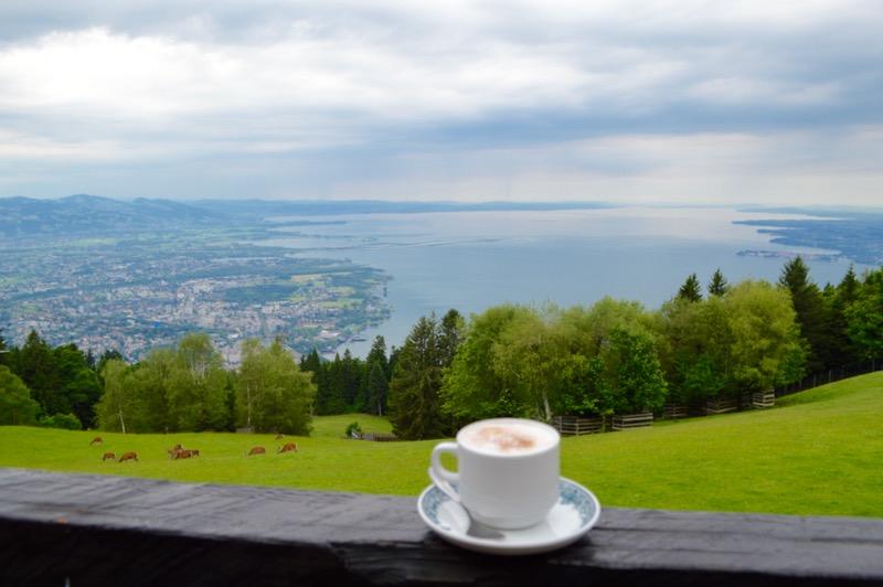 telecabina pe muntele Pfander Bregenz Vorarlberg vedere tei state