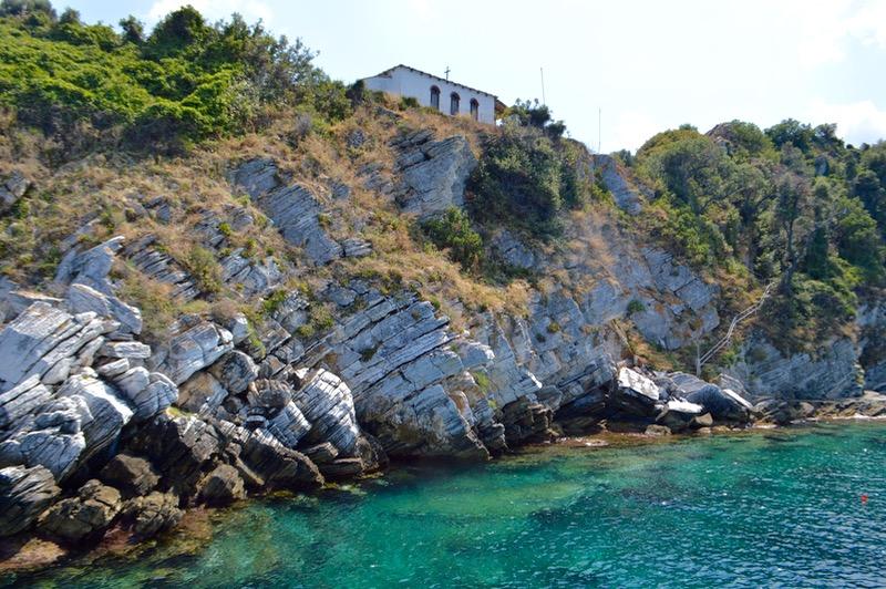 Plaja izolata Thassos Insula Krambousa Biserica Sfântul Daniel Thassos