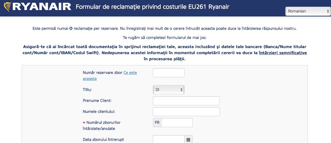 Compensații zboruri Ryanair formular 1