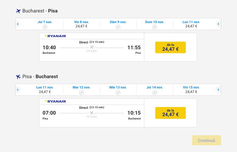 Bucuresti Pisa Ryanair